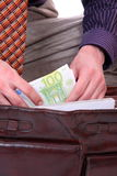 Man is paying with euro banknotes Royalty Free Stock Photography