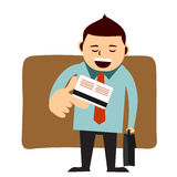 Man paying with his credit card. Man holds his credit/debit card royalty free illustration
