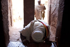 A man paying homage, Lalibela Stock Images