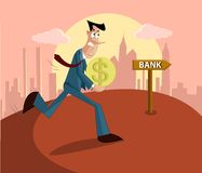 Man paying loan in bank. Man walking with money towards bank, loan repayment concept Royalty Free Stock Images