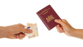 Man paying for passport Royalty Free Stock Photo
