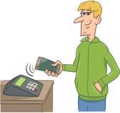 Man paying with smart phone Stock Photos