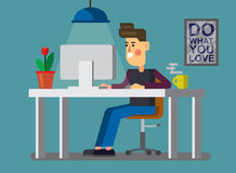 Man and pc in office. Vector illustration of man and pc in office Royalty Free Stock Image