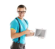 Man with pc tablet Stock Photography