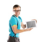 Man with pc tablet Royalty Free Stock Photos