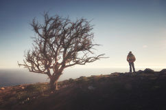 Man on peak of mountain royalty free stock photography