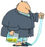 Man With A Pee Bag. This illustration depicts a man wearing a robe and carrying a urine bag hooked to a catheter Stock Image