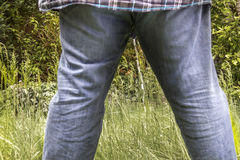 Man peeing on a meadow Royalty Free Stock Images