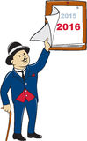 Man Peeling New Year 2016 Calendar Stock Photography