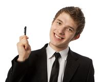 Man with a pen. In a hand Royalty Free Stock Photography