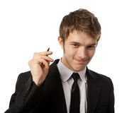Man with a pen. In a hand Royalty Free Stock Photo