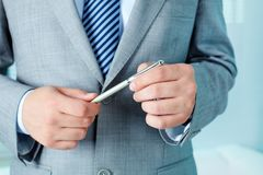 Man with pen Royalty Free Stock Image