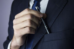Man  pen pocket. Businessman  pen from the pocket Royalty Free Stock Photos