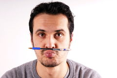 Man with pen Royalty Free Stock Photo