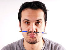 Man with pen Royalty Free Stock Photography