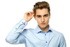 Man with a pencil behind his ear Royalty Free Stock Image
