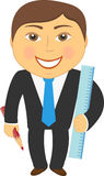 Man with pencil and ruler. Cartoon isolated man with pencil and ruler Stock Images
