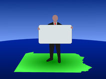 Man Pennsylvania map with sign Royalty Free Stock Photo