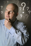 Man pensive and full of doubts Royalty Free Stock Photos