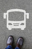Man people bus coach street road traffic city mobility Royalty Free Stock Photos