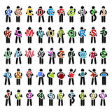 Man People Carrying Holding Colorful Alphabet Text. A set of pictogram representing a set of men carrying alphabet, numbers, and shapes Royalty Free Stock Photos