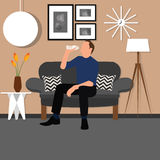 Man people drinking water from bottle sitting chair sofa living room interior. Vector Stock Photo