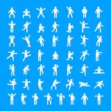 Man people stick icon set, simple style. Man people stick icon set. Simple illustration of 50 man people stick vector icons for web royalty free illustration