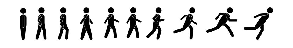 Man people various running position. Posture stick figure. Vector illustration of posing person icon symbol sign pictogram on whit royalty free illustration