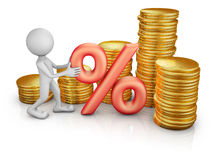 Man with a percent  and coins Royalty Free Stock Photos