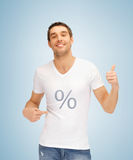 Man with percent icon showing thumbs up Royalty Free Stock Images