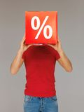Man with percent sign Stock Photo