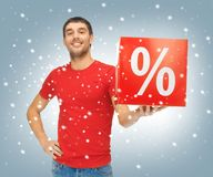 Man with percent sign Royalty Free Stock Images