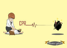 Man perform CPR. Illustration design vector of CPR Royalty Free Stock Photo