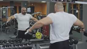Man performing exercises for shoulders with dumbbells in gym. Sport concept. In slow motion stock footage
