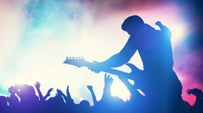 Man performing on music concert stock photos