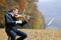 Man performing at violin Royalty Free Stock Photo