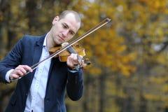 Man performing at violin Royalty Free Stock Image