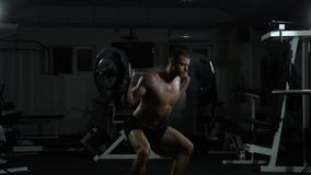 A man performs squats with a barbell in the gym. The concept of health and fitness stock video footage