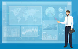 The Man person showing a part of a presentation on the blue background vector illustration. Modern VR interface graph Royalty Free Stock Images