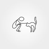 Man and pet stick figure vector Stock Photo