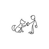 Man and pet stick figure vector. Illustration Stock Photography