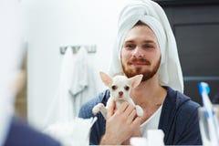 Man with pet Stock Photos