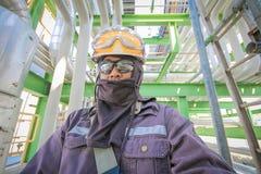 Man in petroleum plant Stock Photo