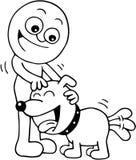Man Petting Dog. Hand drawn cartoon of smiling man petting friendly dog Royalty Free Stock Photography