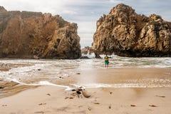 Man at Pfeiffer Beach, California Stock Images