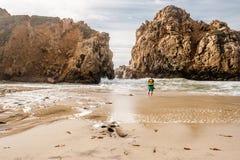 Man at Pfeiffer Beach, California. Man at Pfeiffer Beach, Big Sur, California, USA Stock Photography