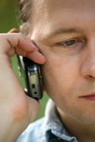 Man with the phone stock photography