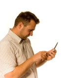 Man with phone. Man with mobile phone on white Stock Photo
