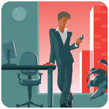 Man with phone. Man in suit with phone in his hand. Staying in office by evening. Vector illustration stock illustration