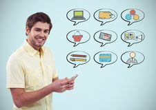 Man with phone and chat bubbles of business graphics drawings Royalty Free Stock Photos